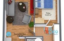 Byt 2+kk Písnice - 1. Floor - 3D Floor Plan