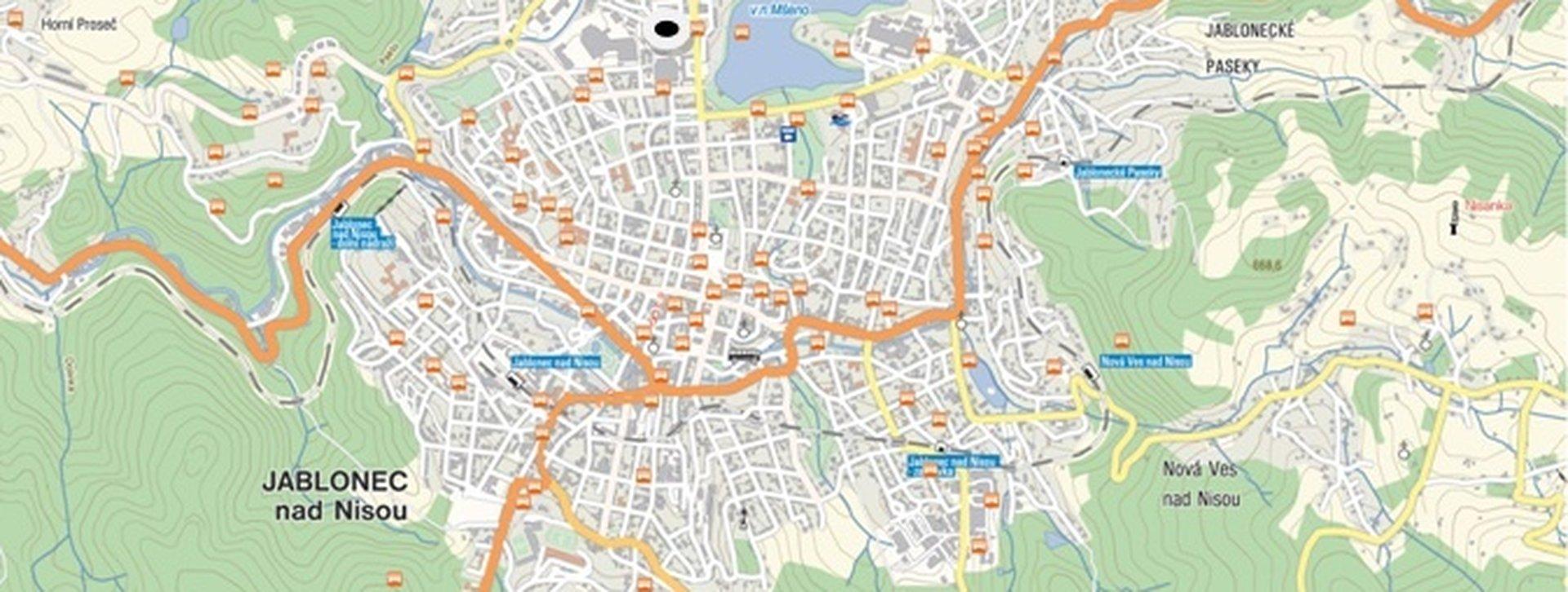 Jablonec nad Nisou mapa