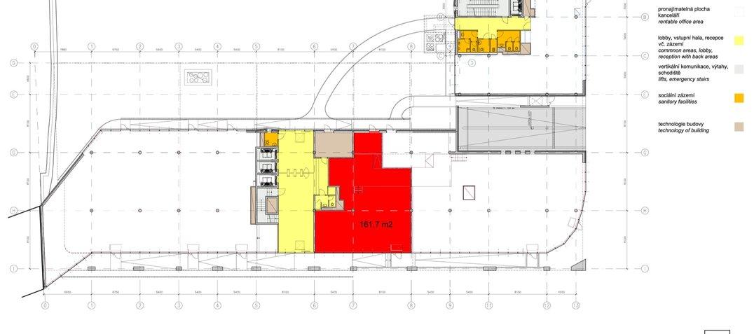 Budova G_vyznačení_1NP 161.7 m2