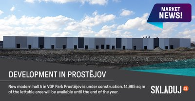 Průmyslová hala o rozloze 14.965 m2 vyroste v Prostějově