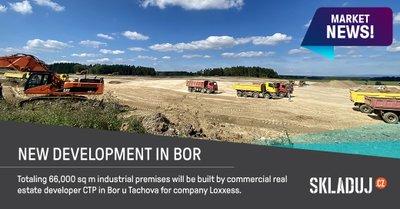Developer CTP staví nový sklad pro společnost Loxxess v Boru u Tachova