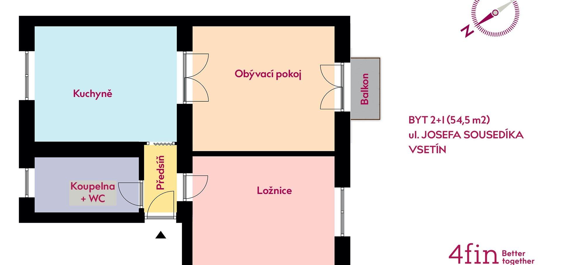 Prodej, Byty 2+1, 55m² - Vsetín