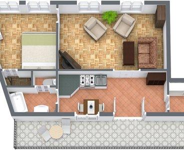 Kubistova - Level 1 - 3D Floor Plan