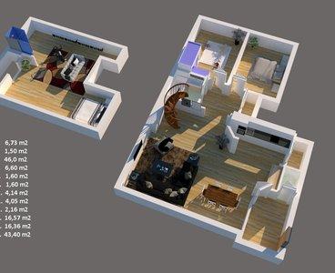 3D půdorys Únětice 2