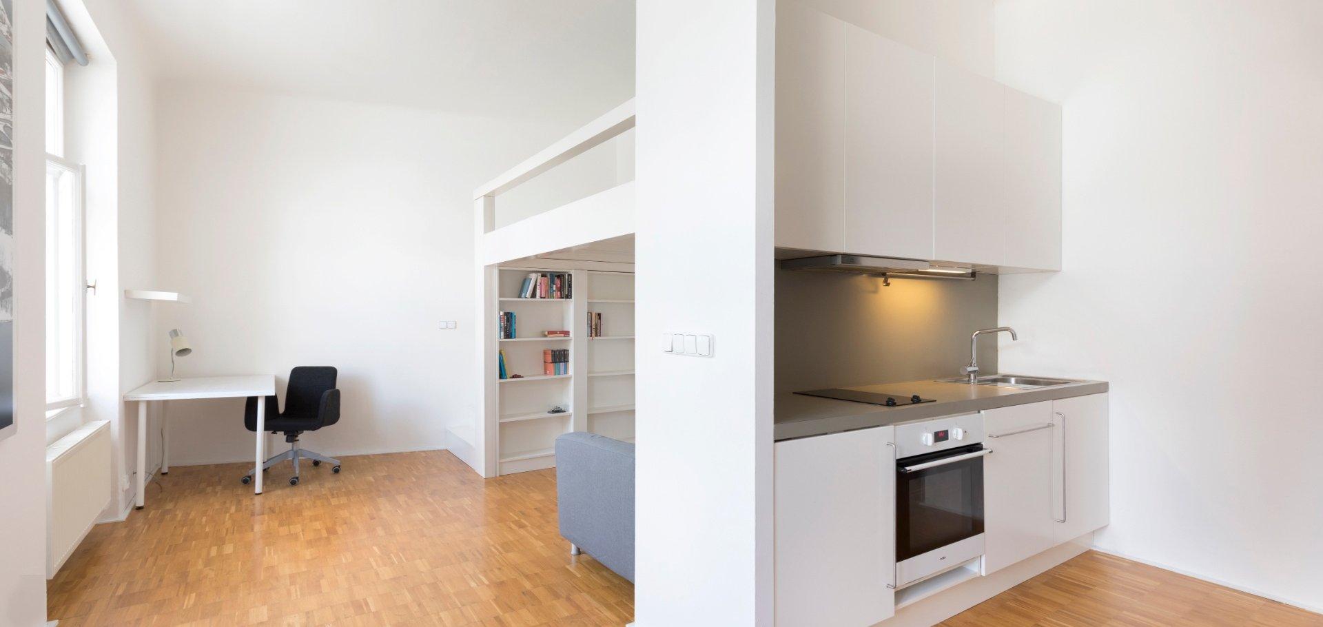 Útulný, klidný, kompletně vybavený byt 1+kk, 42 m², Praha 4 - Nusle