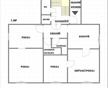 Půdorys - 1.NP (názvy pokojů)