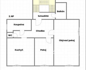 Půdorys - 2.NP (názvy pokojů)