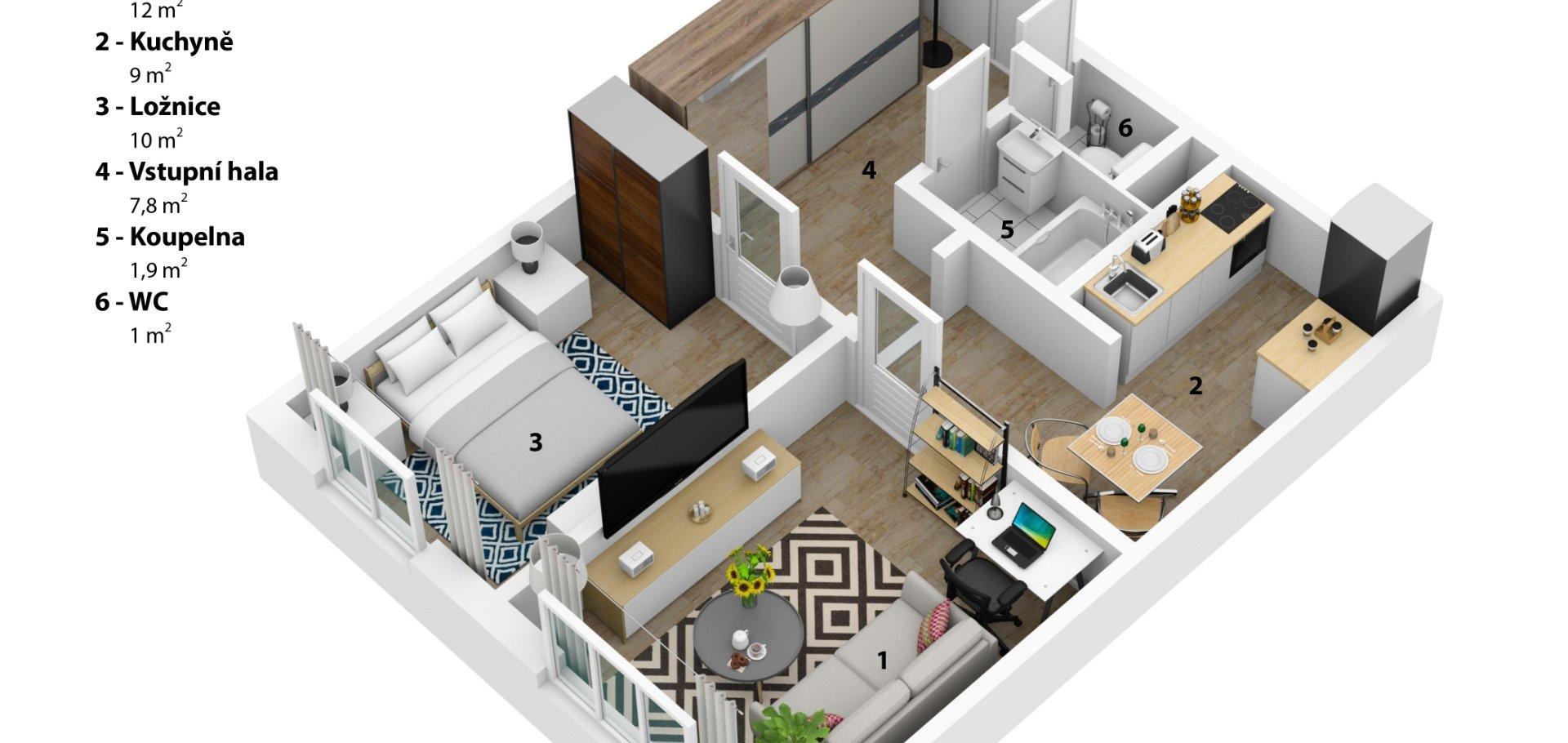 Prodej, Byty 2+1, 43m² - Praha - Stodůlky