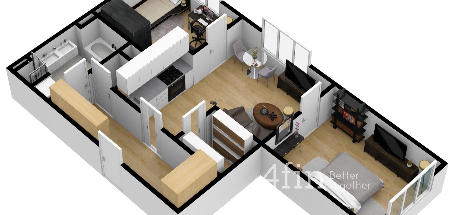 Pronájem krásného bytu 3+kk s pracovnou, 71m²,  Praha - Vršovice