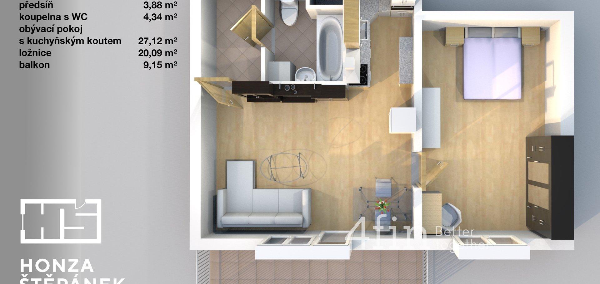 Prodej bytu 2+kk, 55m², balkon, garážové stání, sklep, Praha - Vinoř