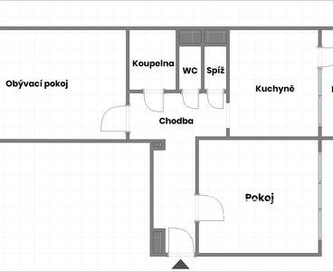 2D půdorys - názvy pokojů