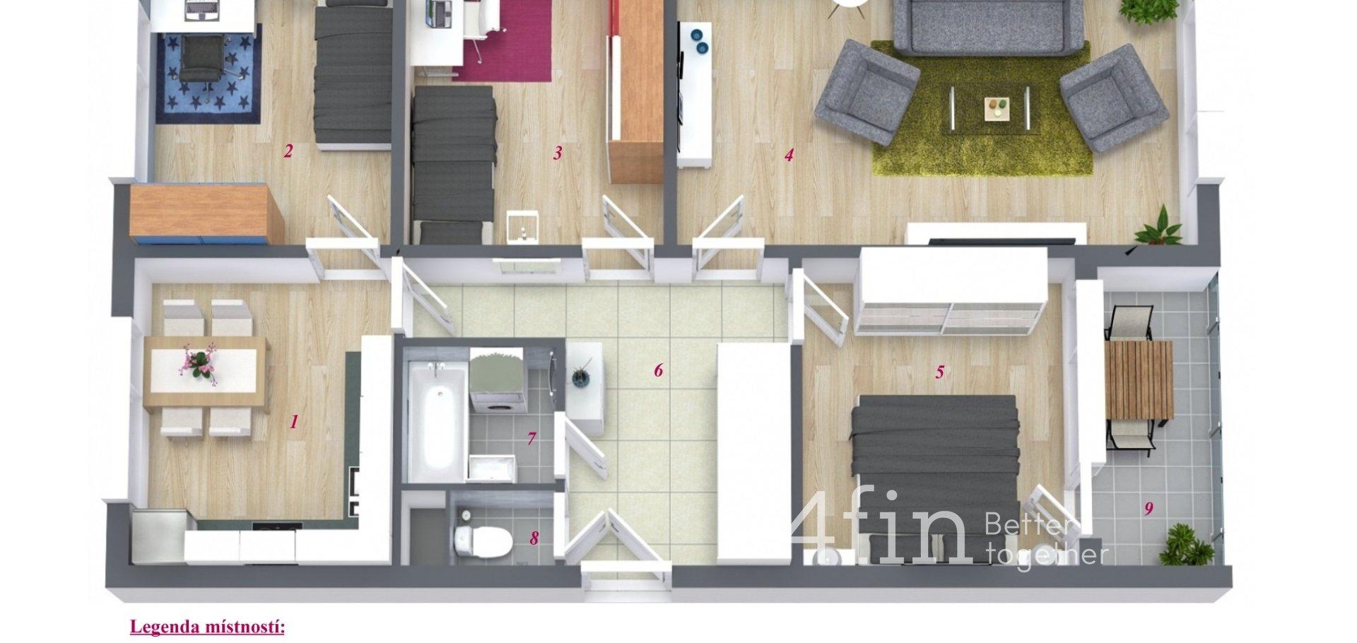 Prodej bytu 4+1 s lodžií, 88 m2, Plzeň - Bolevec
