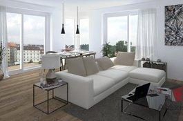 Prodej bytu 2+kk/B, 53 m2, garážové stání, sklep, Rezidenční projekt Primátorská, Praha 8