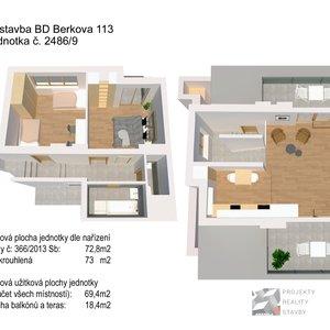Prodej, Byt č. 9: 3+kk, 73m² + terasy na ulici Berkova - Brno - Královo Pole