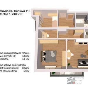 Prodej, Byt č. 10: 3+kk, 54m² + terasy na ulici Berkova - Brno - Královo Pole