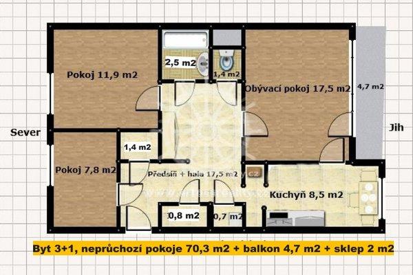Prodej, Byt OV 3+1, Brno - Starý Lískovec, ul. Dunajská, neprůchozí pokoje s balkonem a sklepem, 77 m²,