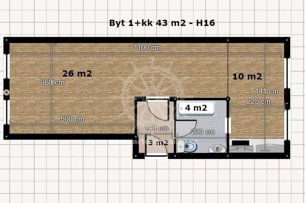 Pronájem, Byt 1+kk, 43 m² - Brno - Husovice, Husovická ul.