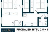 Pronájem bytu 2,5+1, Brno-město, ul. Hybešova, UP 54m2