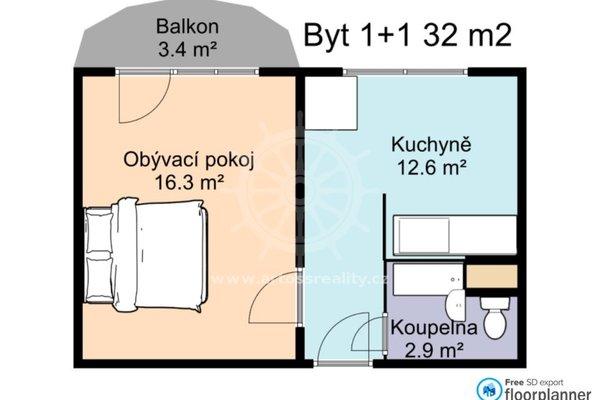 Pronájem vybaveného bytu 1+1, 32 m² + balkon, Brno - Komárov, ul. Schwaigerova