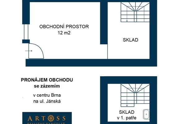 Pronájem obchodního prostoru v centru Brna na ul. Jánská, CP 20m²