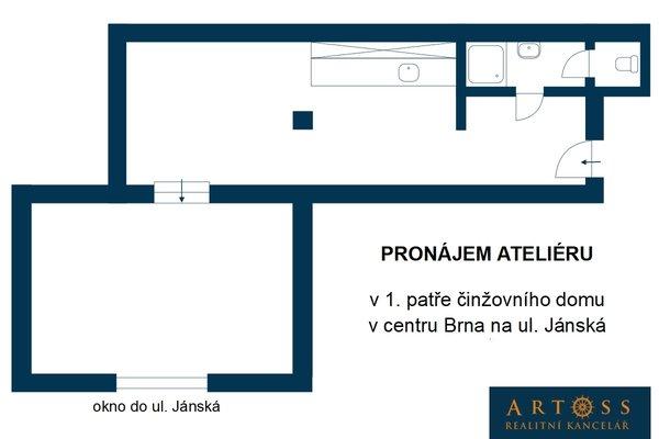 Pronájem kanceláří v centru Brna na ul. Jánská, CP 43m²