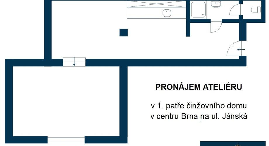 Atelier v centru Brna, ul. Jánská