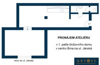 Pronájem bytu 1+1 / studia v centru Brna na ul. Jánská, CP 43m²