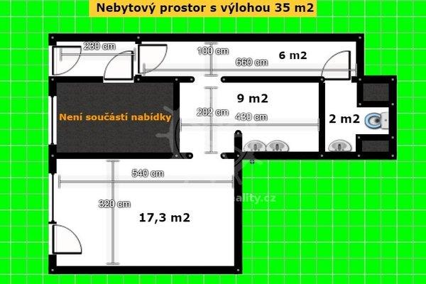 Pronájem, Obchodní prostory nebo kancelář s výlohou a soc. zázemím, 35m², ul. Bubeníčkova, Brno - Židenice