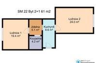 (SM22) Pronájem částečně zařízeného bytu 2+1, 61 m² - Brno - Židenice, ul. Šámalova