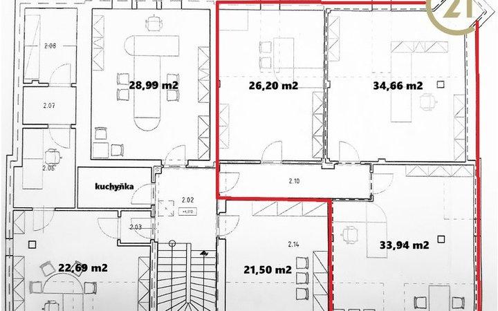 Pronájem, kancelářské prostory, 106 m2, Uničov