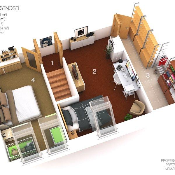 Mezonetový byt o dispozici 3+1 v Rosicích u Brna
