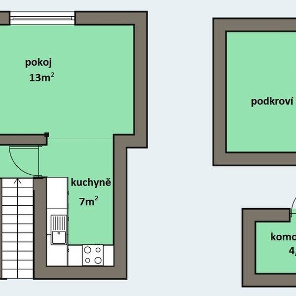 Mezonetový byt 2+kk, 54m2 v centru města Kralup nad Vlt.