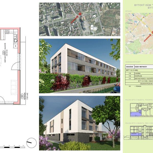 Nový byt 1+kk o výměře 43 m2, s terasou 7,01 m2, Praha 4 - Lhotka