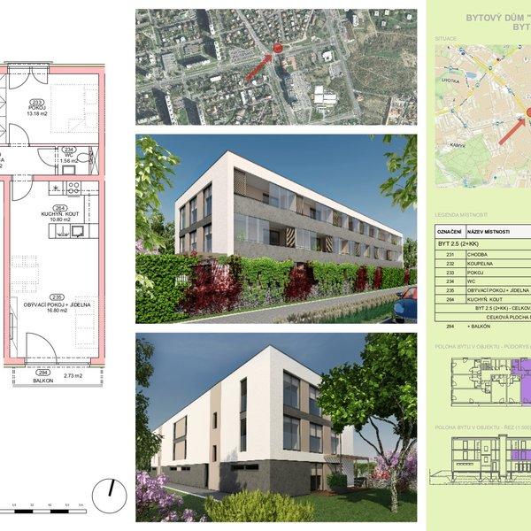 Nový byt 2+kk o výměře 53,14 m2, s lodžií 2,73 m2, Praha 4 - Lhotka
