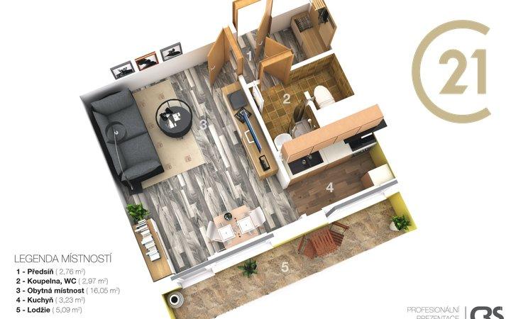 Pronájem bytu 1+kk, 32 m², ul. Italská, Kladno