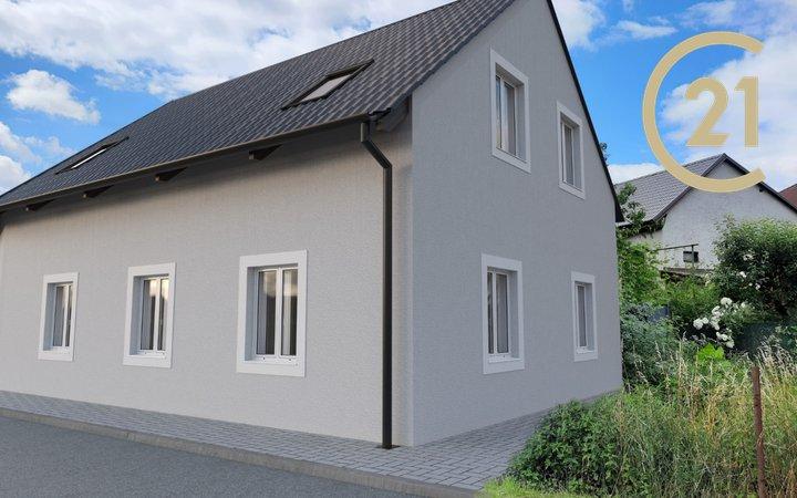 Dům s postupným financování s garážovým stáním, sklepem, terasou s pergolou, zahradou