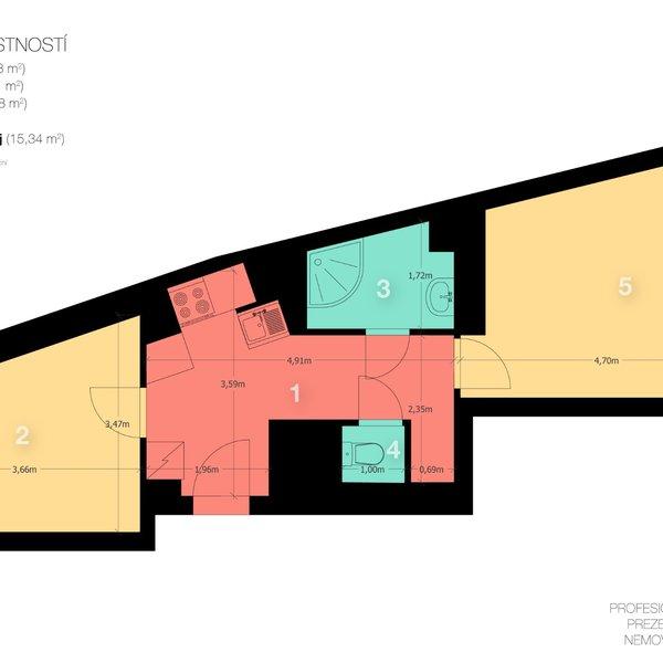 Pronájem, Byty 2+1, 41m² - Praha - Podolí