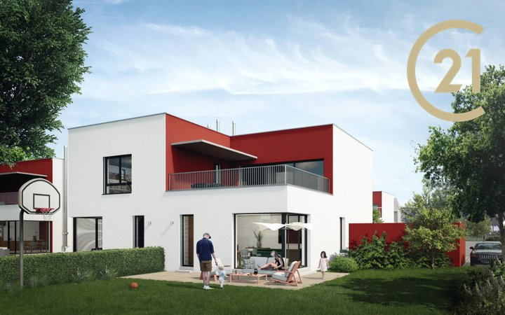 Prodej prestižního, nového bytu 3+kk 93m2 se zahrádkou 399m2 a garáží, Hostouň