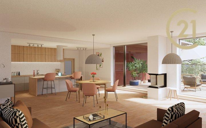 Prodej prestižního, nového bytu 3+kk 96m2 se zahrádkou 373m2 a parkovacím stáním, Hostouň