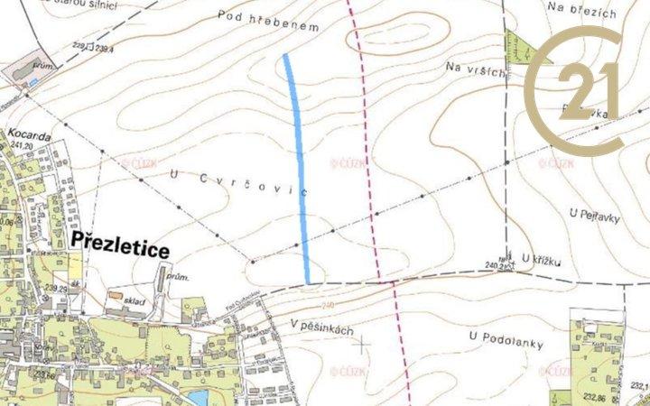 Prodej zemědělských pozemků 12 890 m², k.ú. Přezletice okres Praha-východ