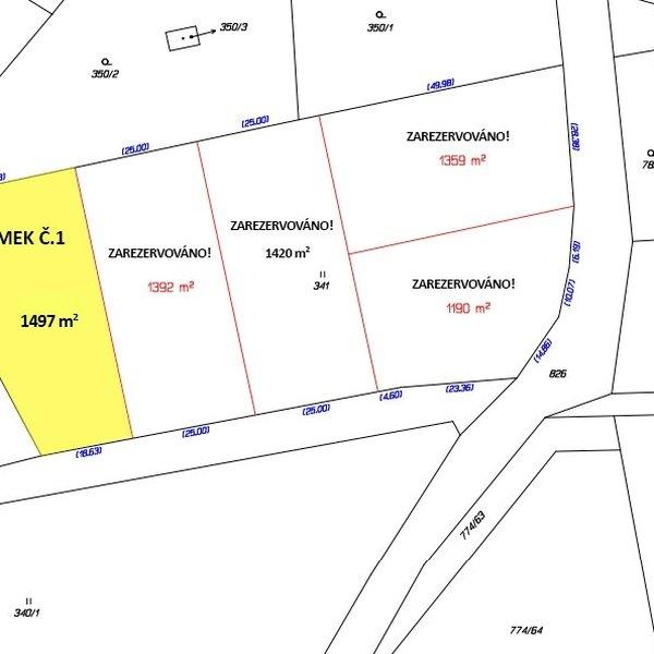 Prodej stavebního pozemku, obec Trnávka.