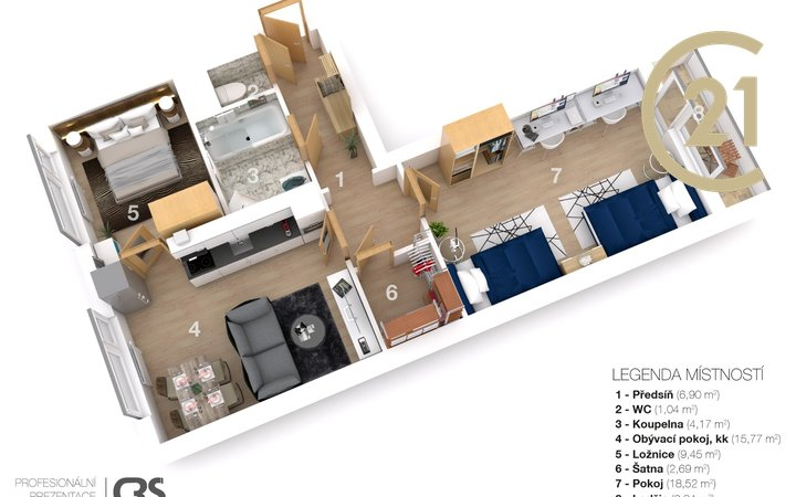 Prodej bytu 3+kk Brno-Bystrc  60m2 + lodžie 4m2