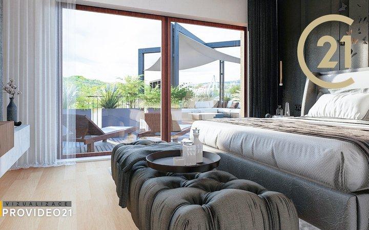 Prodej luxusního mezonetového penthouse 4kk s dvěma terasami  – 246 m2,  Praha - Holešovice