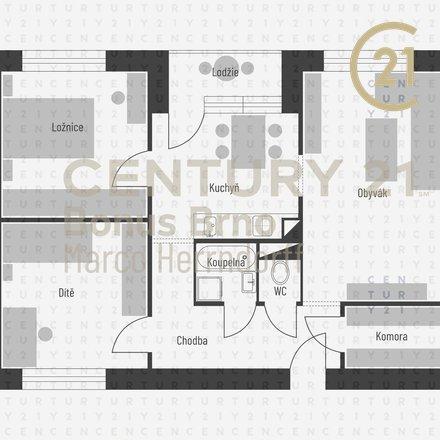Byt 3+1, Brno - Řečkovice, Horácké náměstí, 73 m2