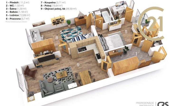 Prodej, Byty 3+kk, 85m² - Brno