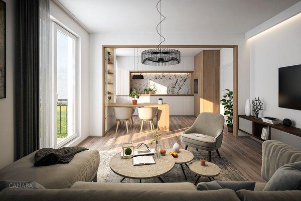 Prodej nového bytu 1+kk/balkon/parkovací stání/sklep, 39,4 m2, ul. Bryksova, Praha - Černý Most. 3.769.000,-