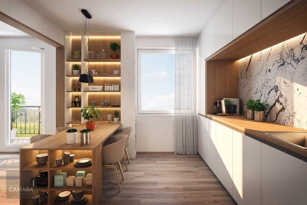 Prodej nového bytu 2+kk /balkon/garáž/sklep, 60,9 m2, ul. Bryksova, Praha – Černý Most.  5.089.000,-
