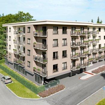 Prodej bytu 2+kk v novém developerském projektu Green Garden Mariánské Lázně   54 m2 + balkon 4 m2