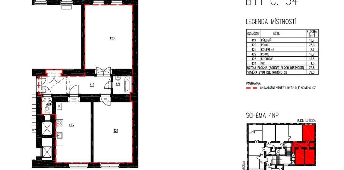 Продажа, 2-х комнатные квартиры (3+кк), 72m² - Praha