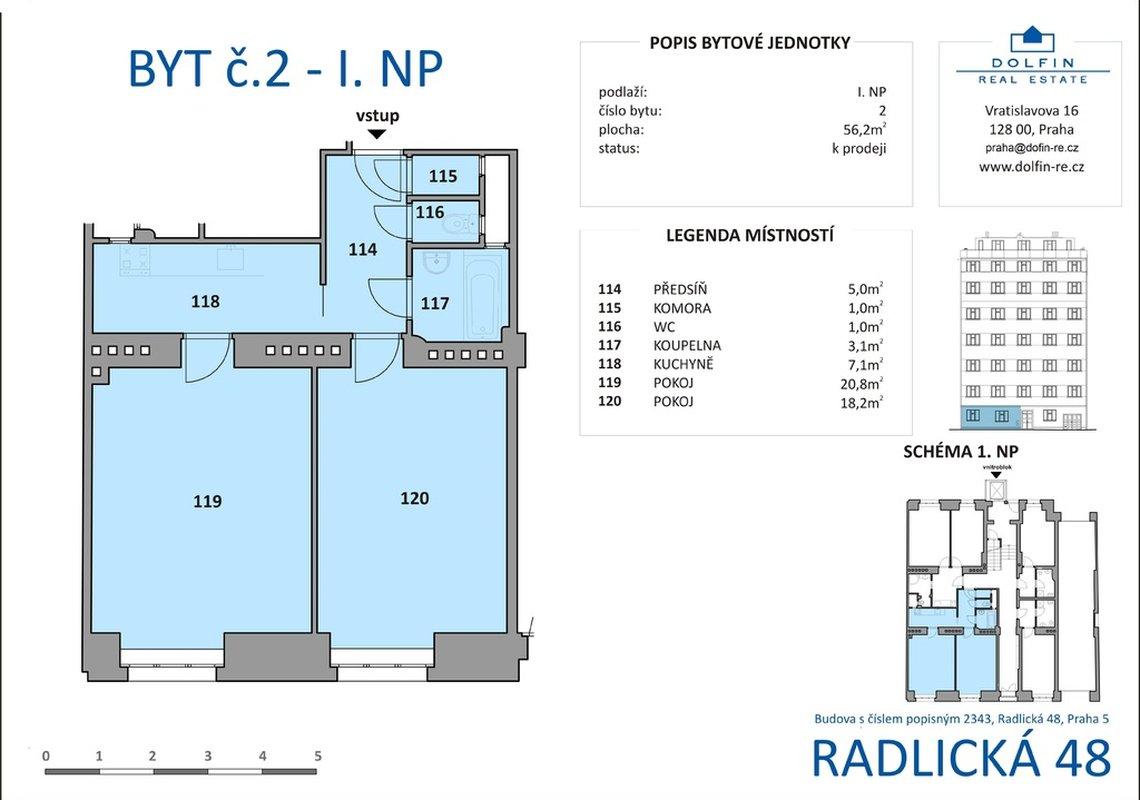 Продажа, 1 комнатные квартиры (2+кк), 56m² - Praha